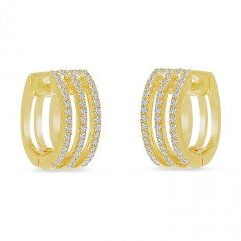 14 Karat Yellow Gold Triple Row Diamond Huggie/Hoop Earrings