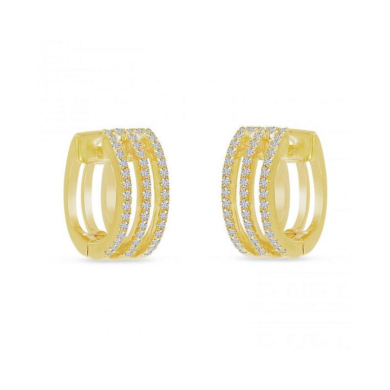 Corinth Collections  14 Karat Yellow Gold Triple Row Diamond Huggie/Hoop Earrings
