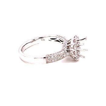 14 Karat White Gold Diamond Semi Mount with Diamond Halo and Diamond Hidden Halo