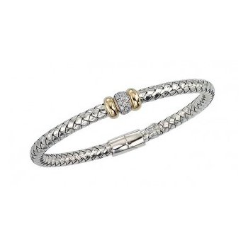 18 Karat Yellow Gold and Sterling Silver Weaved Bracelet with Hinged Clasp and Double Gold Rondell with Diamond Accent