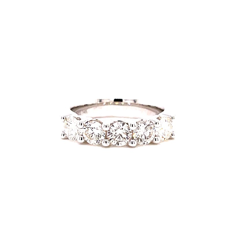 Ashi Diamonds 14 Karat White Gold Five Stone Round Diamond Band