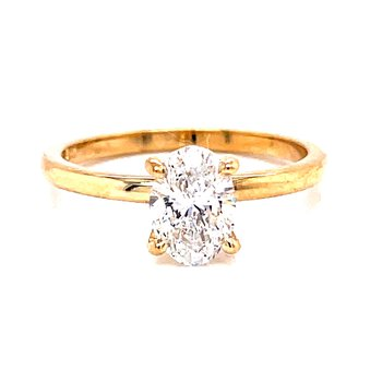 14 Karat Yellow Gold Oval Cut Solitaire with Polished Shank Engagement Ring