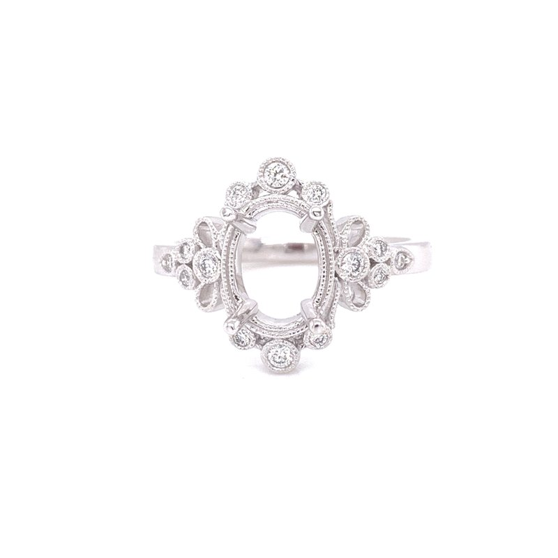 Corinth Collections  14K White Gold 4-Prong Oval Semi Mount with Round Bezel Diamond Halo