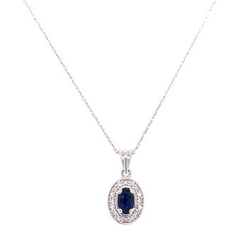 10K White Gold Oval Sapphire and Diamond Necklace