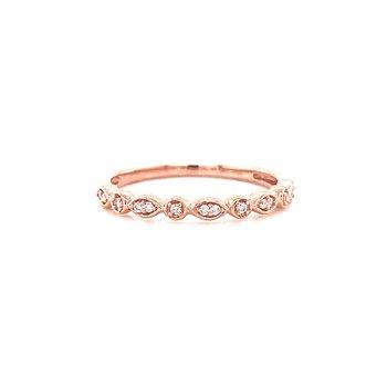 10 Karat Rose Gold Round and Marquis Alternating Diamond Stacker Band