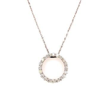 14 Karat White Gold Diamond Circle Pendant