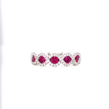 14K White Gold 5 Stone Ruby and Diamond Band