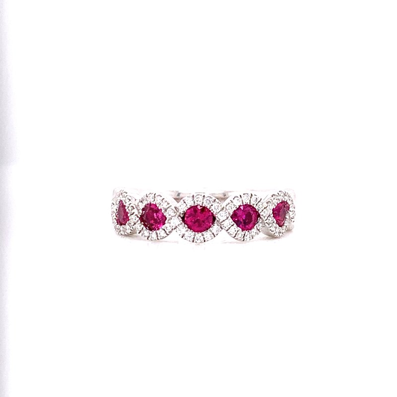 Corinth Collections  14K White Gold 5 Stone Ruby and Diamond Band