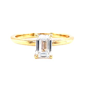 14 Karat Yellow Gold Emerald Cut Solitaire Engagement Ring with Polished Shank