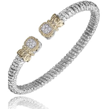 14 Karat Yellow Gold and Sterling Silver Cushion Cut Diamond Cuff Vahan Bracelet with Yellow Gold Beaded Accents