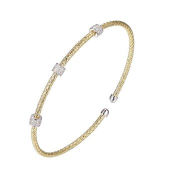 Sterling Silver and Gold Plated Bangle Bracelet with Triple CZ Rondells