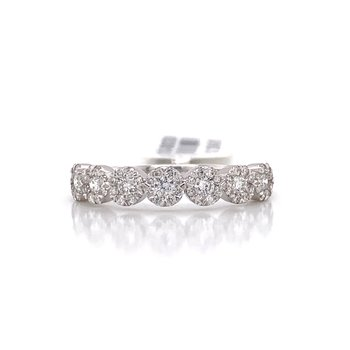 14K White Gold Love Bright Round Diamond Band