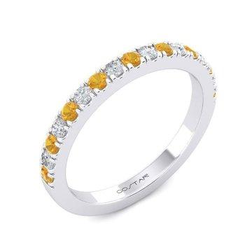 14 Karat White Gold Alternating Citrine and Diamond Stacker Band