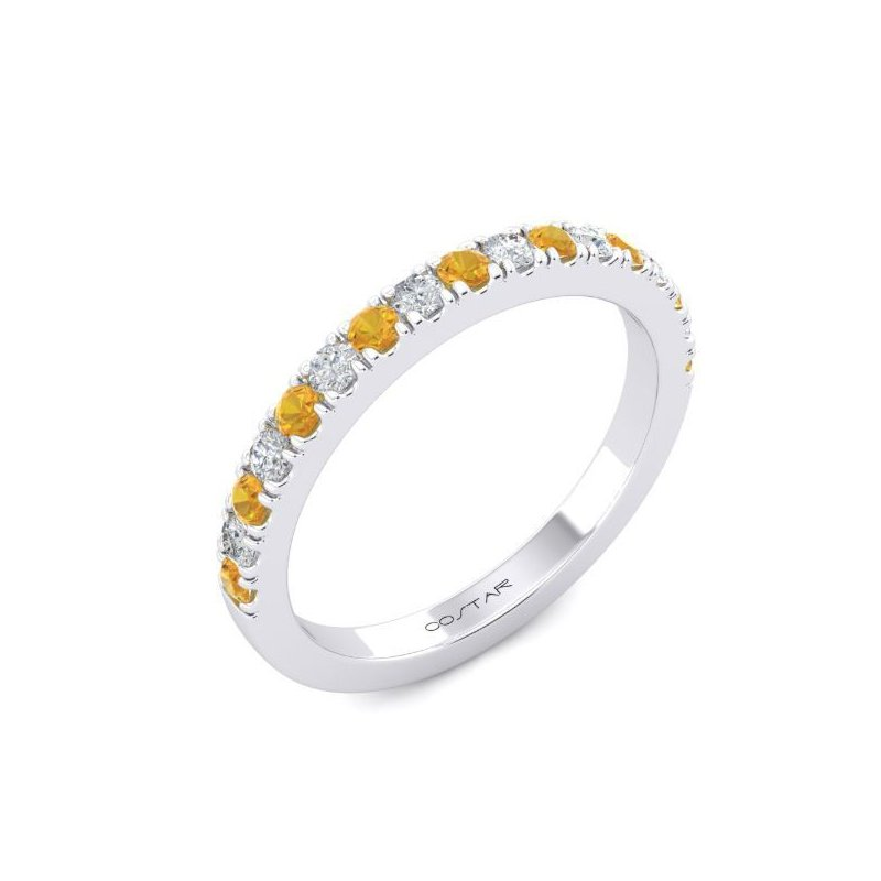 Corinth Collections  14 Karat White Gold Alternating Citrine and Diamond Stacker Band