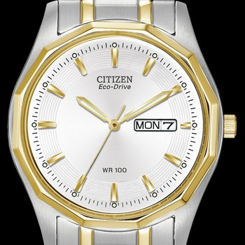 Citizen Gents Watch White Face with Two Tone Accents
