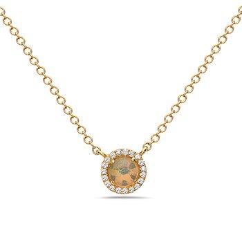 14 Karat Yellow Gold Petite Oval Cut Opal Necklace with Diamond Halo