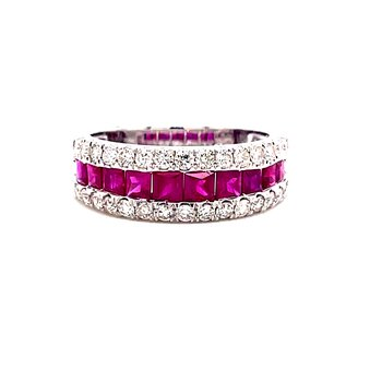 14 Karat White Gold Round Diamonds and Ruby Baguettes Anniversary Band