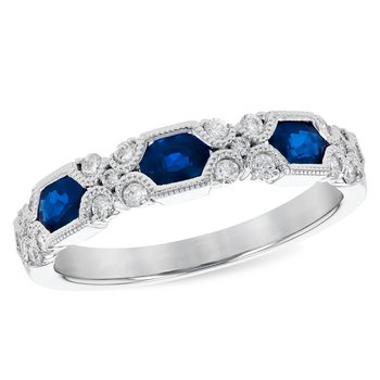 14  Karat White Gold Sapphire and Diamond Vintage Band Accented with Filigree Details
