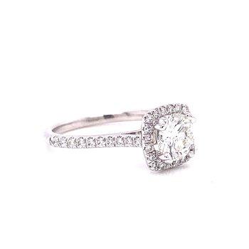 14 Karat White Gold RBC Round Center with Cushion Diamond Halo Engagement Ring