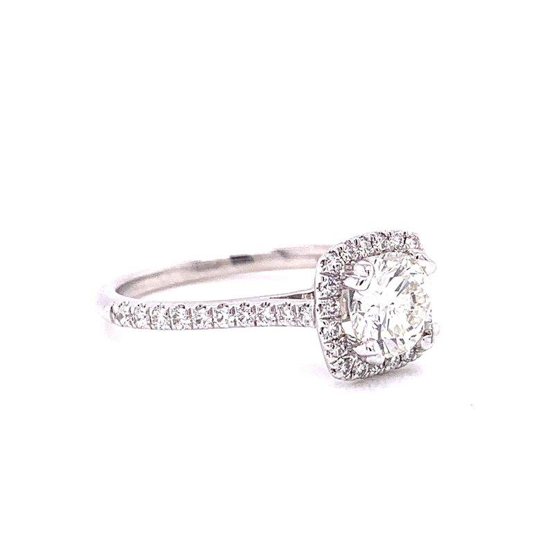 Gabriel 14 Karat White Gold RBC Round Center with Cushion Diamond Halo Engagement Ring