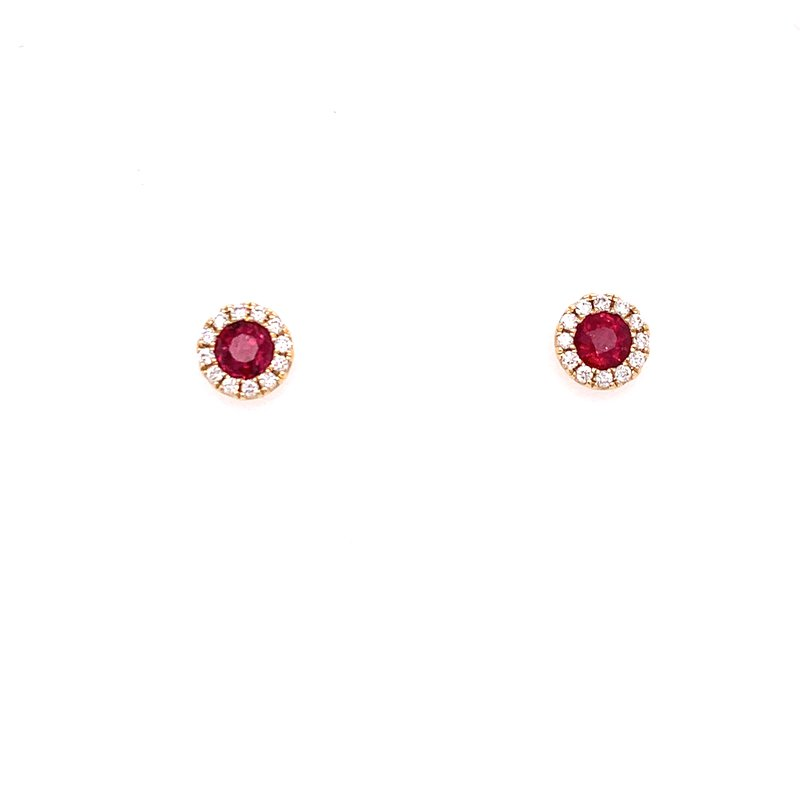Corinth Collections  14K Yellow Gold Ruby and Diamond Earrings