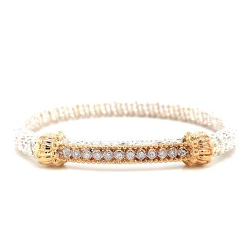 14 Karat Yellow Gold and Sterling Silver Diamond Bar Vahan Bracelet with Yellow Gold Beaded Accent