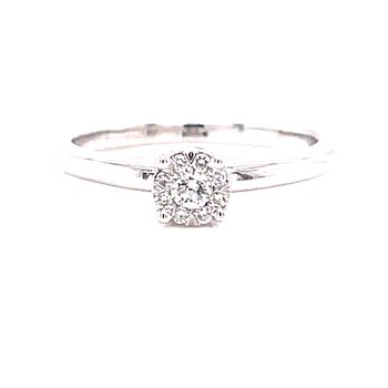 14 Karat White Gold Round Illusion Center with Polished Shank Solitaire Engagement Ring