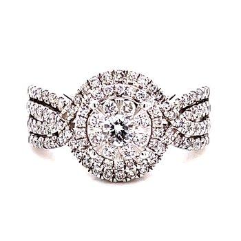 14 Karat White Gold Round Diamond Cluster Engagement Ring with Double Diamond Halo and Diamond Shank