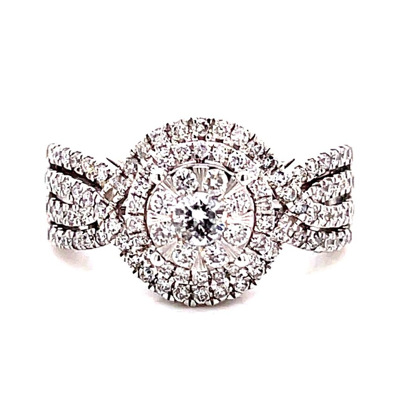 Corinth Collections  14 Karat White Gold Round Diamond Cluster Engagement Ring with Double Diamond Halo and Diamond Shank