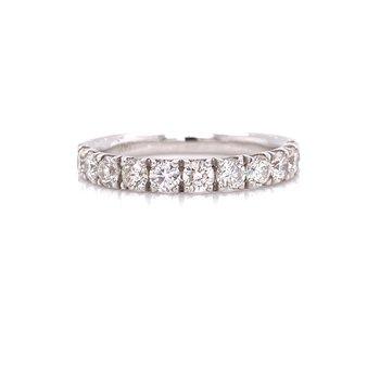 14K White Gold 0.90 cttw Round Diamond Stacker Band