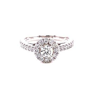 14 Karat White Gold Round Center with Diamond Halo and Shank Engagement Ring