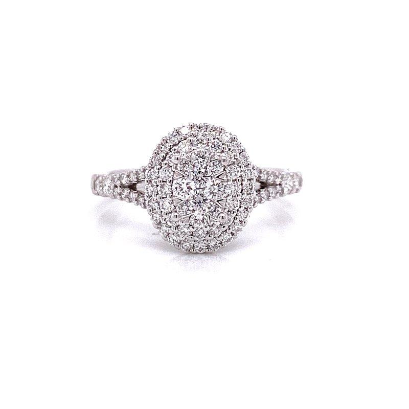 Ashi Diamonds 14 Karat White Gold Oval Illusion Center with Double Diamond Halo
