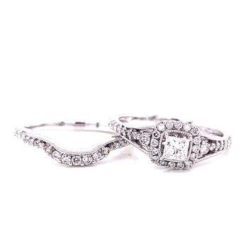 14 Karat White Gold Princess Center Stone with Cushion Diamond Halo and Miligrain Details Engagement Set