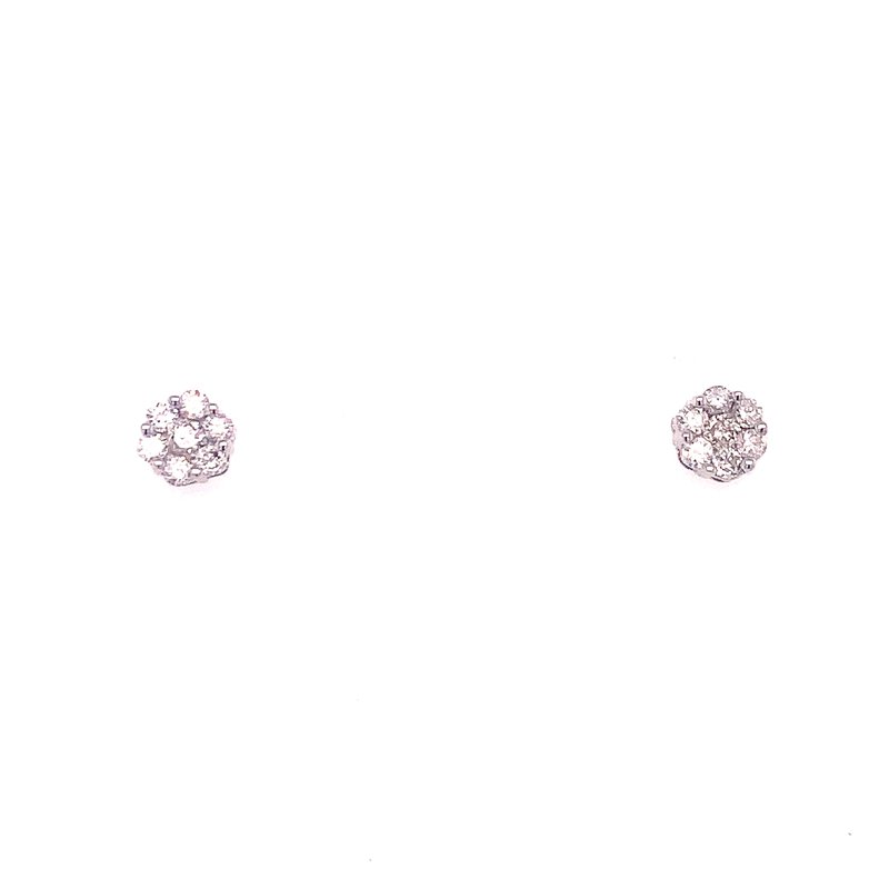 Corinth Collections  14 Karat White Gold Flower Cluster Diamond Stud Earrings