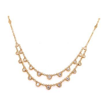 14 Karat Yellow Gold Double Layered Diamond Dangle Necklace