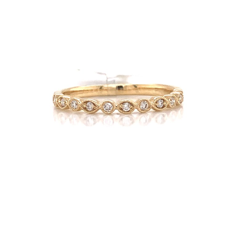 Corinth Collections  14K Yellow Gold Round / Marquis Alternating Diamond Band