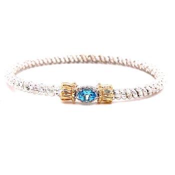 14 Karat Yellow Gold and Sterling Silver Oval Shape Sky Blue Topaz with Diamond Halo 3mm Vahan Bracelet