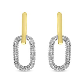 14 Karat Yellow Gold Pave Diamond Double Link Earrings