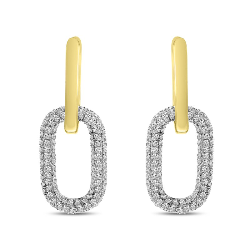Corinth Collections  14 Karat Yellow Gold Pave Diamond Double Link Earrings