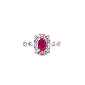 10K White Gold Oval Ruby with Diamond Halo