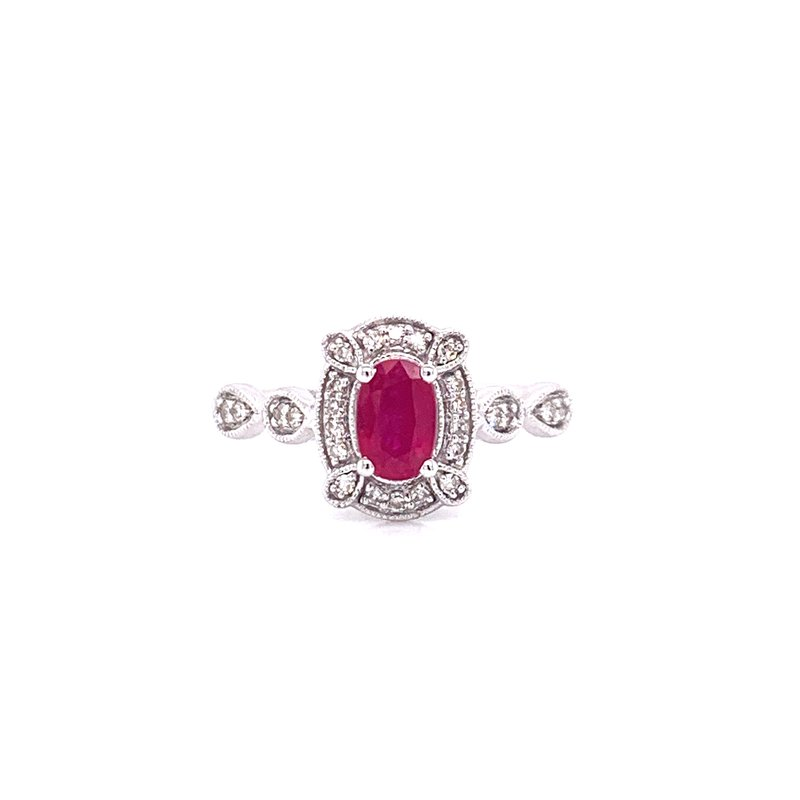 Corinth Collections  10K White Gold Oval Ruby with Diamond Halo