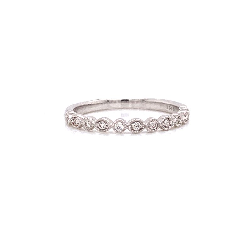 Corinth Collections  14K White Gold Round and Marquis Alternating Band