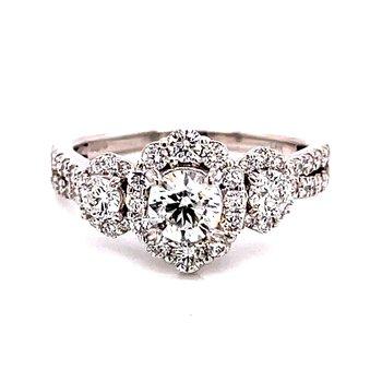14 Karat White Gold Three-Stone Round Diamond Engagement Ring with Diamond Halo and Split Diamond Shank