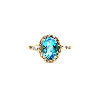 14 Karat Yellow Gold Oval Checkered Blue Topaz with Diamond Halo Ring