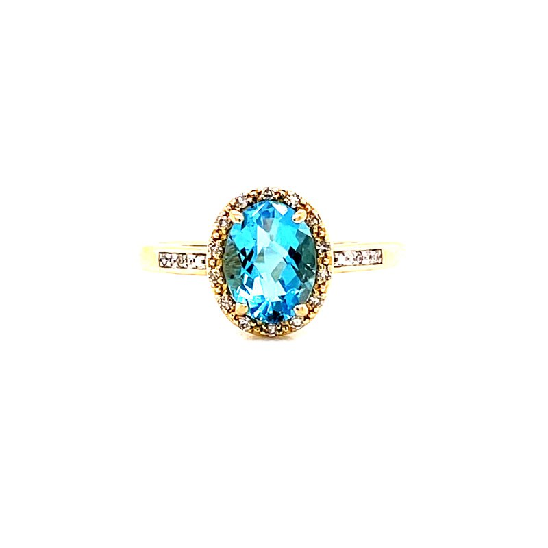 Corinth Collections  14 Karat Yellow Gold Oval Checkered Blue Topaz with Diamond Halo Ring