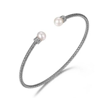 Sterling Silver Cuff Bracelet with Pearl Tips and CZ Accent