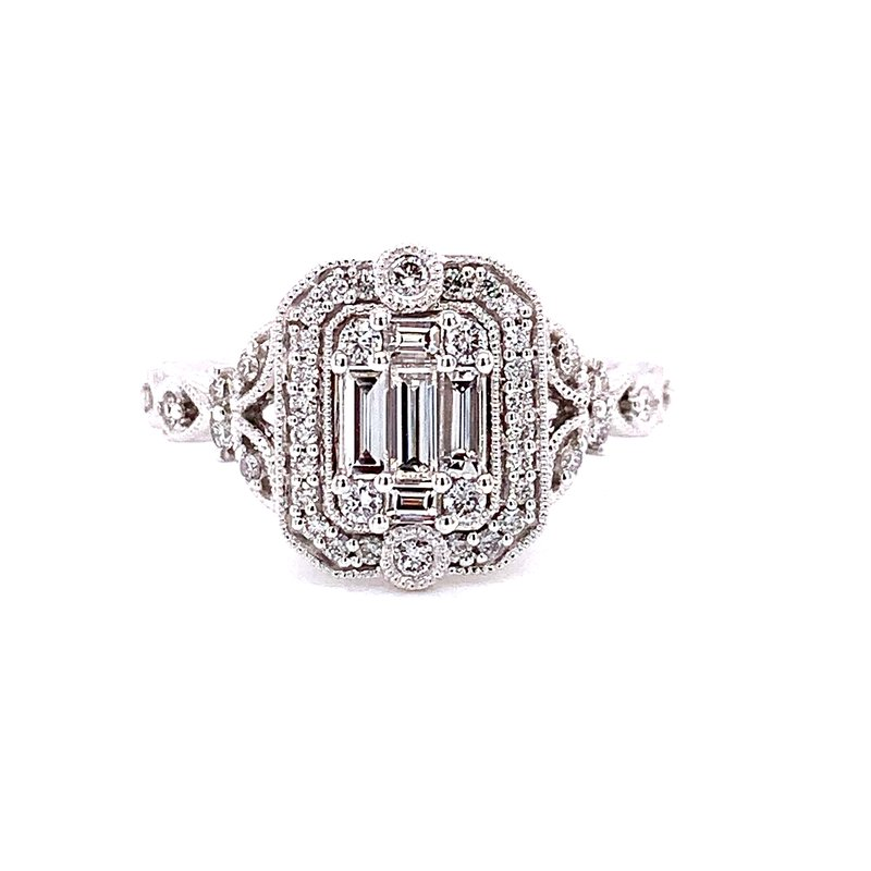 Ashi Diamonds 14 Karat White Gold Bagutte and Round Diamond Engagement Ring with Vintage Diamond Accent