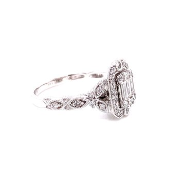 14 Karat White Gold Bagutte and Round Diamond Engagement Ring with Vintage Diamond Accent