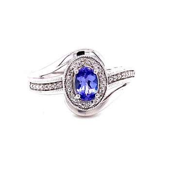 Sterling Silver Tanzanite and Diamond Vintage Fashion Ring