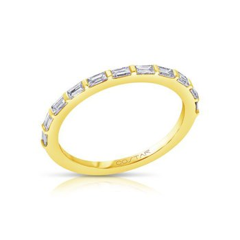14 Karat Yellow Gold Baguette Diamond Stacker Band